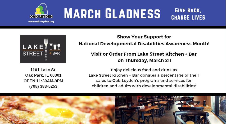 March Gladness Lake Street Kitchen Bar Oak Leyden Developmental Services